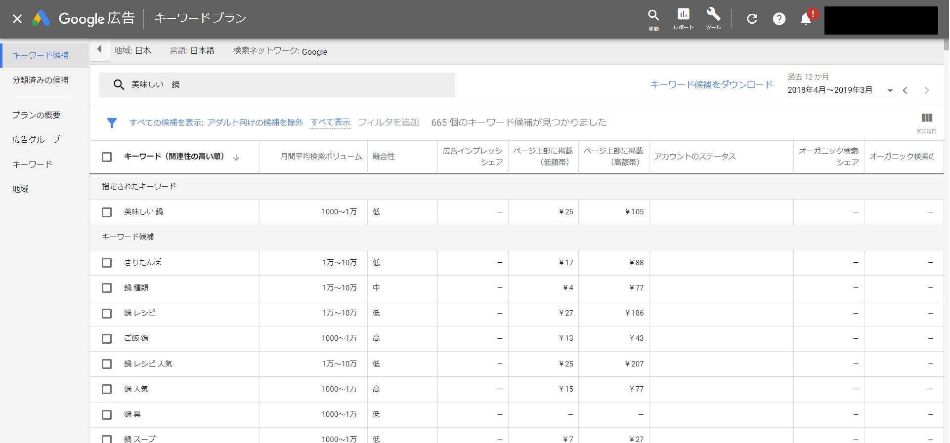 キーワードプランナーの検索結果の例